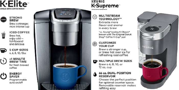 What are the differences between Keurig Elite and Supreme