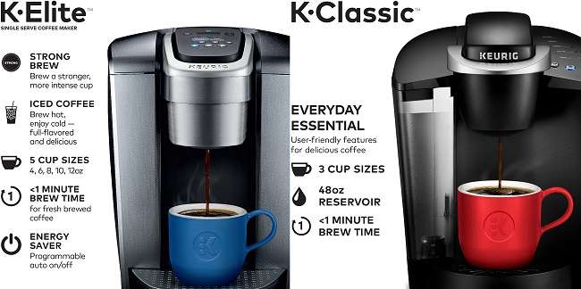 What are the similarities and differences of Keurig K-Elite Vs K-Classic?